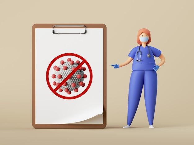Le personnage de dessin animé de femme médecin se tient près du grand presse-papiers avec l'icône de coronavirus.