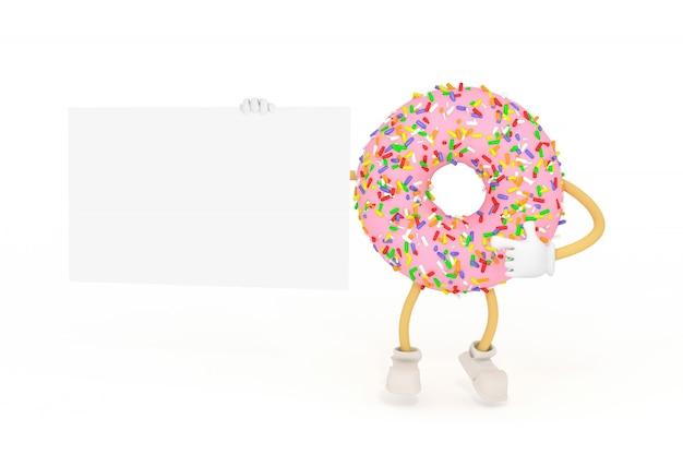 Personnage de dessin animé illustration 3d donut rose