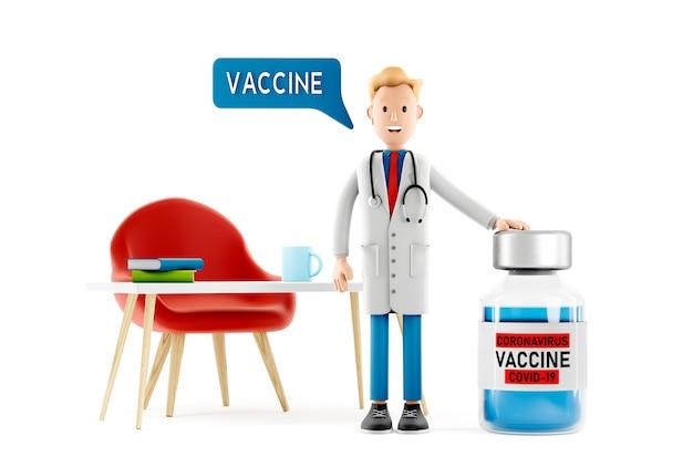 Personnage de dessin animé d'infirmière, médecin avec vaccin de covid19
