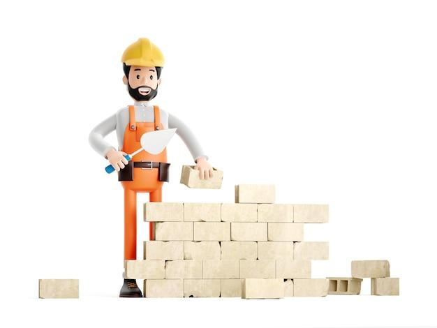 Personnage de dessin animé de plâtrier de peintre de constructeur, ouvrier ou ingénieur drôle construisant un mur de briques