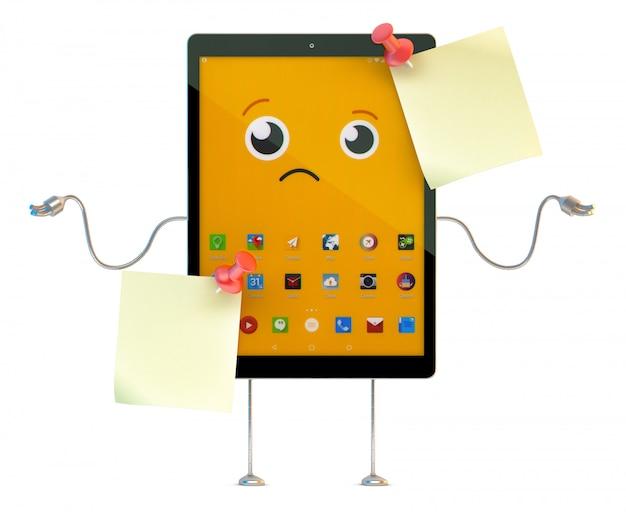 Personnage de dessin animé de tablette avec des notes autocollantes. illustration 3d. contient un tracé de détourage des notes et de la scène entière