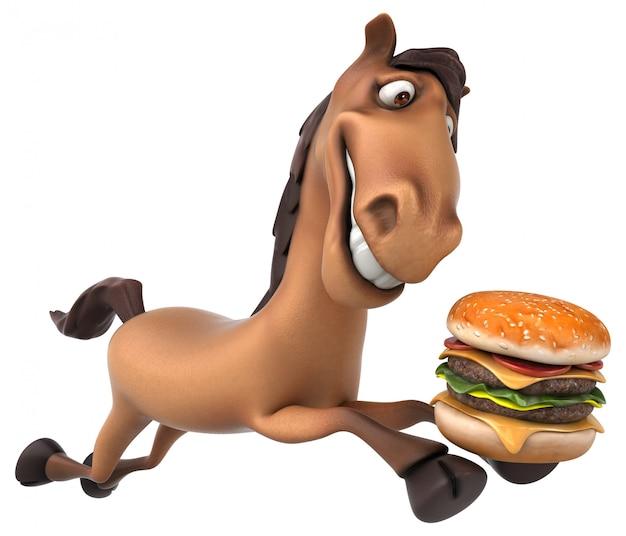 Personnage drôle de cheval 3d tenant un hamburger