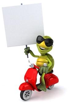 Personnage drôle de tortue 3d monté sur un scooter tenant une pancarte