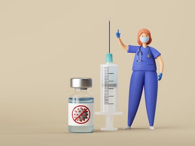 Le personnage de femme médecin est debout près de la grande seringue, bouteille en verre avec un liquide bleu clair.