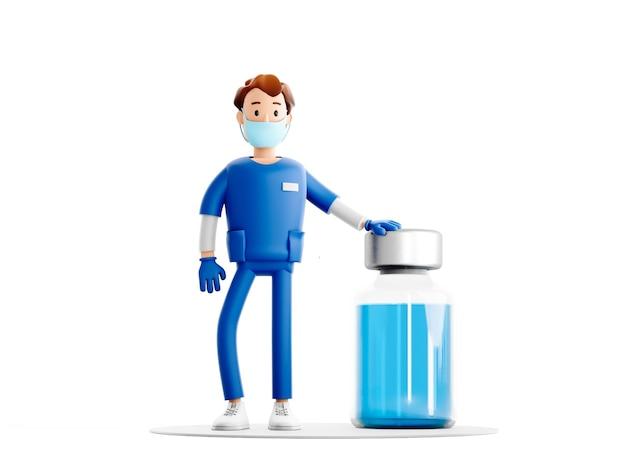 Personnage de gars de dessin animé d'infirmière, docteur avec le vaccin