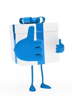 Personnage avec une grosse main montrant thumbs up