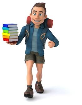 Personnage de l'homme backpacker de dessin animé 3d