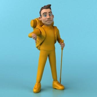 Personnage jaune amusant de dessin animé 3d