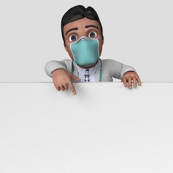 Personnage de médecin de dessin animé 3d dans un masque facial