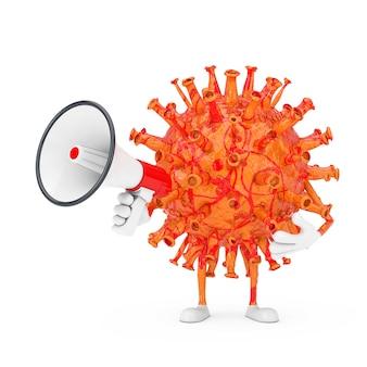 Personnage de personnage de mascotte de virus de coronavirus covid-19 de dessin animé avec le mégaphone rétro rouge sur un fond blanc. rendu 3d
