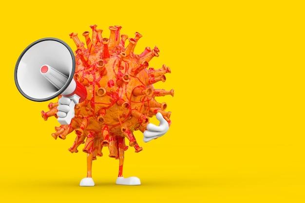 Personnage de personnage de mascotte de virus de coronavirus covid-19 de dessin animé avec le mégaphone rétro rouge sur un fond jaune. rendu 3d