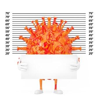 Personnage de personnage de mascotte de virus de coronavirus covid-19 de dessin animé avec la plaque d'identification devant la gamme de police ou l'arrière-plan de mugshot en gros plan extrême. rendu 3d
