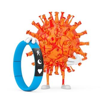 Personnage de personnage de mascotte de virus de coronavirus covid-19 de dessin animé avec le traqueur de forme physique bleu sur un fond blanc. rendu 3d