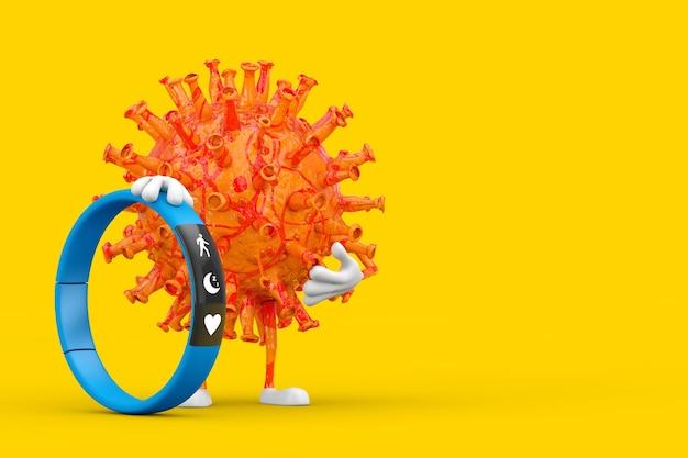 Personnage de personnage de mascotte de virus de coronavirus covid-19 de dessin animé avec le traqueur de forme physique bleu sur un fond jaune. rendu 3d