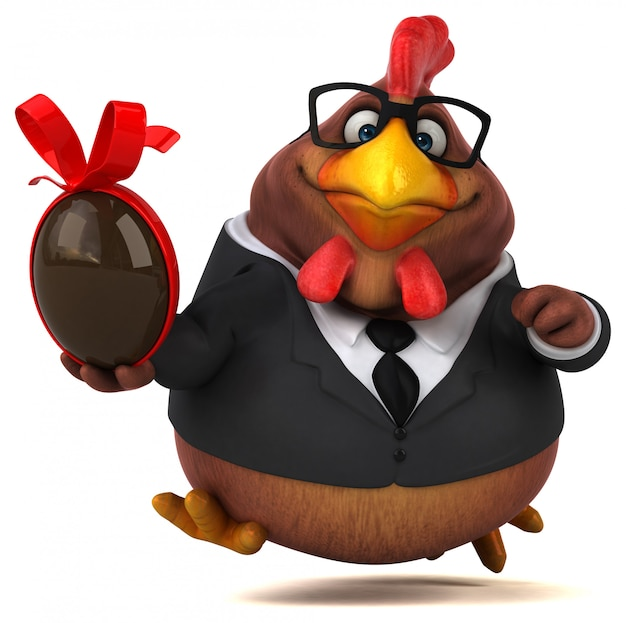 Personnage de poulet amusant illustration 3d