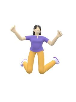 Personnage de rendu 3d d'une fille asiatique sautant et dansant en levant les mains. gens de dessin animé heureux