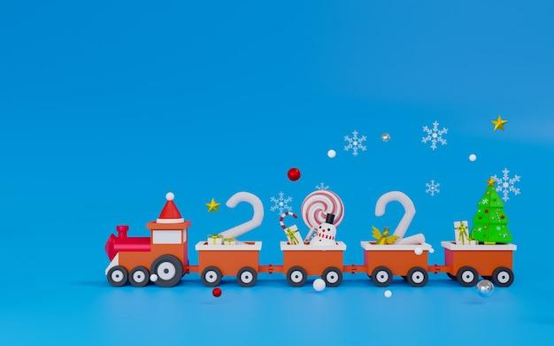 Personnage De Rendu 3d Sur Le Thème Du Train Minimal Joyeux Noël Et Bonne Année 2021 Photo Premium