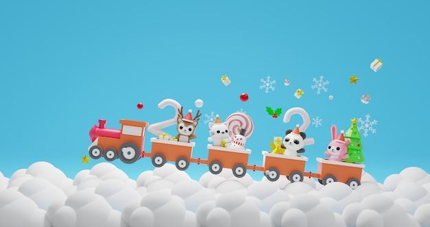 Personnage de rendu 3d sur le thème du train minimal joyeux noël et bonne année 2021
