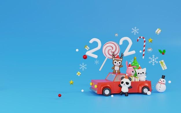 Personnage de rendu 3d sur le thème minimal de la voiture rouge joyeux noël et bonne année 2021