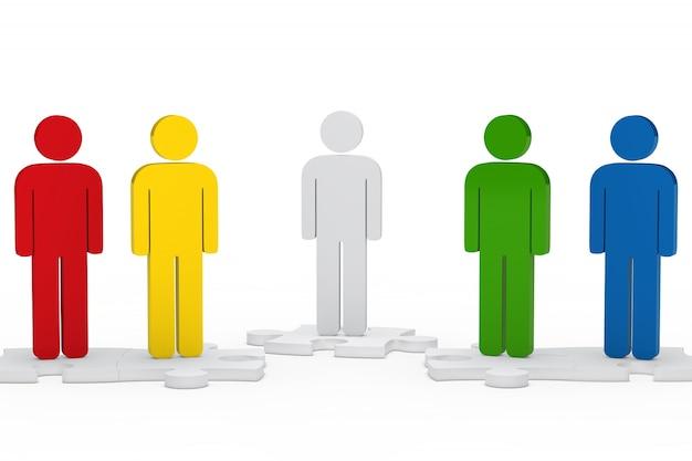 Personnages colorés sur des pièces de puzzle