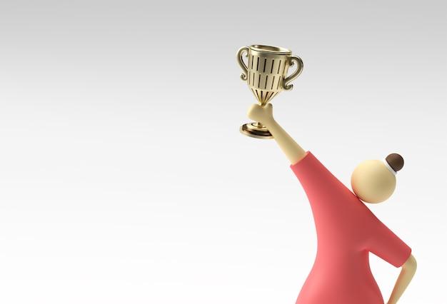 Personnages de dessins animés de femme de rendu 3d avec trophy cup isolé sur fond blanc.
