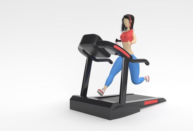 Personnages de dessins animés de rendu 3d femme exécutant une machine de tapis roulant sur un fond de remise en forme.