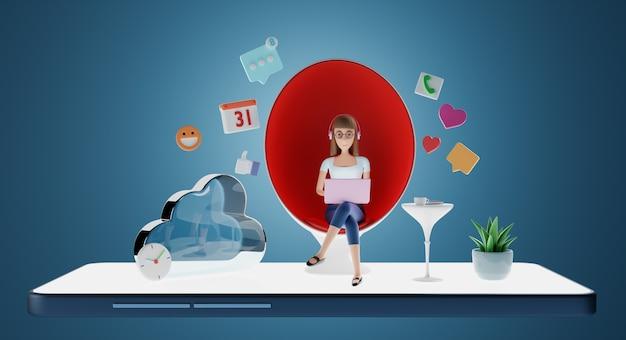 Personnages de femme d'affaires assis dans une chaise d'oeuf avec ordinateur portable et icône de médias sociaux. mode de vie numérique, communication en ligne et concept de médias sociaux. rendu 3d.