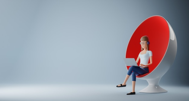 Personnages de femme d'affaires assis dans une chaise d'oeuf avec rendu 3d d'ordinateur portable.