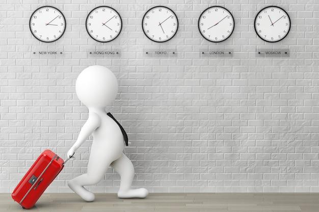 Personne 3d courant avec une valise devant des horloges de fuseau horaire et un mur de briques
