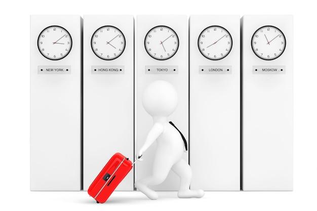 Personne 3d avec valise devant des colonnes avec des horloges de fuseau horaire indiquant une heure différente