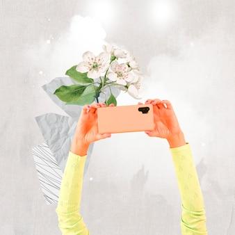 Personne de l'auditoire des médias sociaux filmant via des smartphones remixés