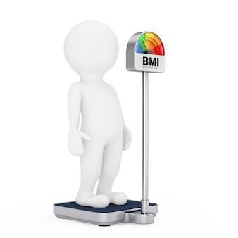 Personne de caractère 3d sur une échelle de contrôle du poids médical avec imc ou échelle d'indice de masse corporelle compteur à cadran sur fond blanc. rendu 3d