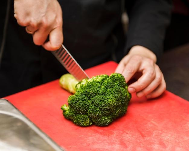 Personne, couper, frais, brocoli