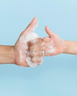 Personne, lavage, mains, savon