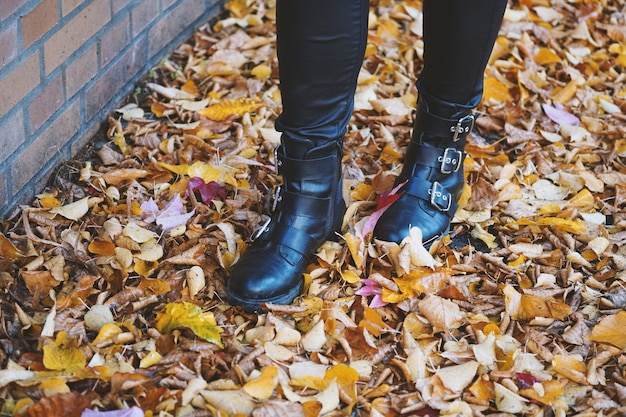 Personne portant des bottes en cuir noir marchant dans les feuilles colorées