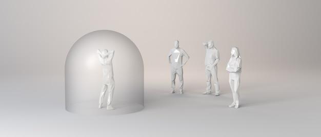 Personne protégée dans une bulle de verre d'un groupe de personnes non protégées. illustration 3d.