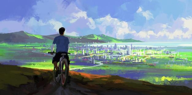 Une personne qui fait du vélo à la recherche dans l'illustration de la distance.