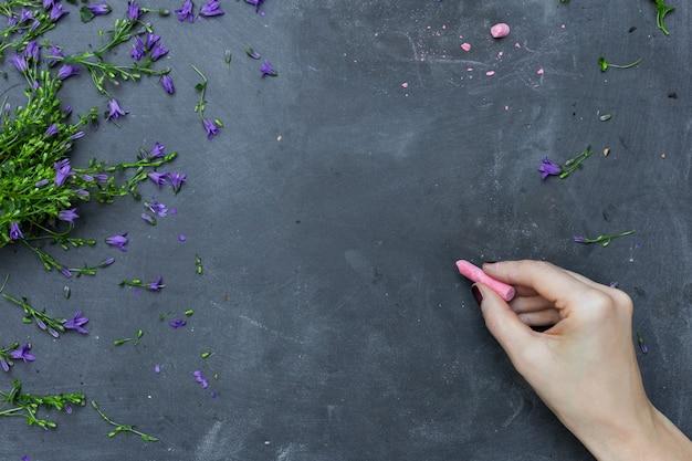 Une personne s'appuyant sur un tableau noir avec de la craie rose entouré de pétales de fleurs violettes