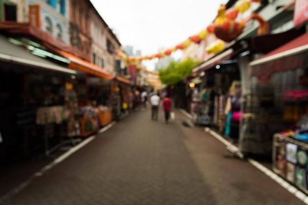 Personnes abstraites floues sur rue, personnes à china town singapore.