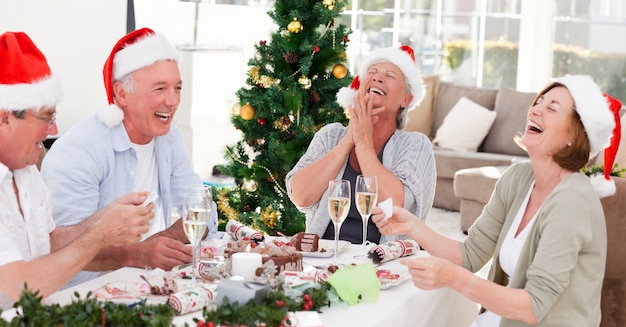 Personnes âgées le jour de noël à la maison