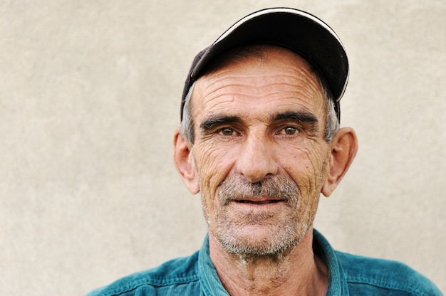 Personnes âgées, vieux, homme mûr avec un chapeau, portrait