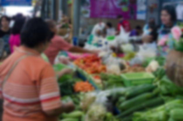Personnes floues au marché
