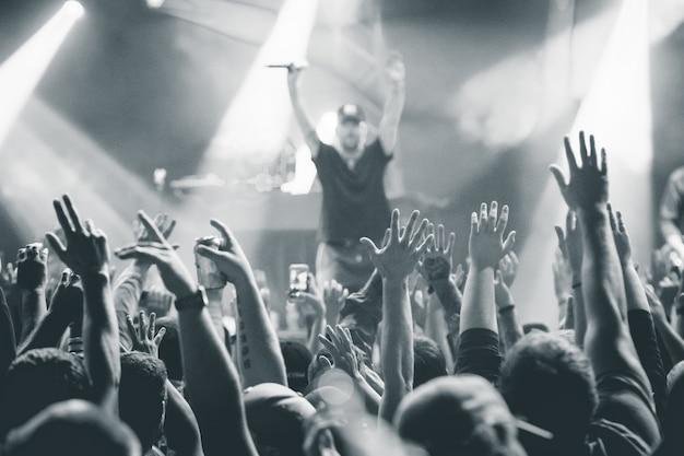 Personnes levant les mains au concert