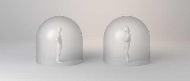 Personnes protégées dans des bulles de verre et avec distanciation sociale. illustration 3d.