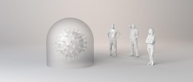 Personnes regardant un virus protégé par une bulle de verre. illustration 3d.