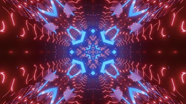 Perspective abstraite du tunnel avec des flèches bleues brillantes et un éclairage au néon rouge pour un fond de science-fiction futuriste