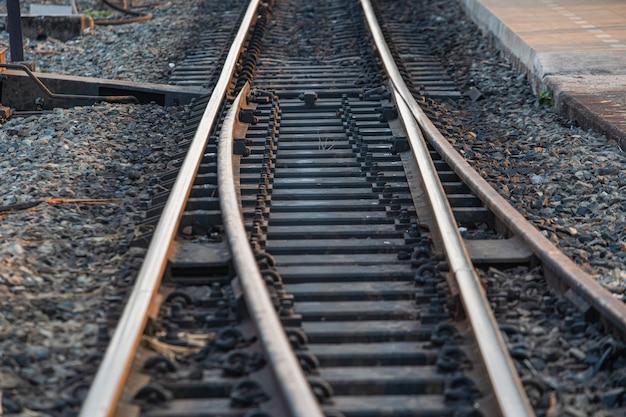 Perspective chemin de fer traverses voie ferrée
