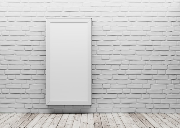La perspective de la pièce, sur le mur de briques blanches, pend un tableau vide. plancher de bois, modèle de mise en page pour l'affichage du produit. rendu 3d.