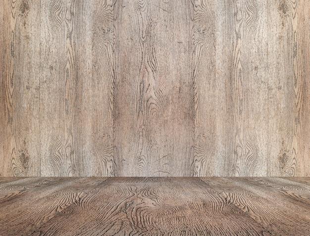 Perspective vide ancienne salle en bois avec mur et sol