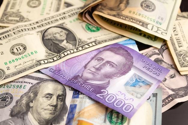 Peso chilien avec le dollar américain pour le concept de change et l'économie chilienne